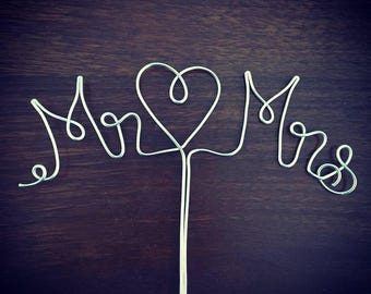 Mr & Mrs - Gold or Silver Wire Cake Topper for Birthdays, Weddings and Special Occasions
