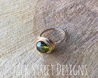 Olive and Gold Wire Ring