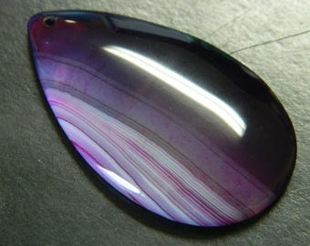 Purple Striped Onyx Agate Pendant - Teardrop Onyx Gemstone Pendant - Wholesale Onyx Pendants