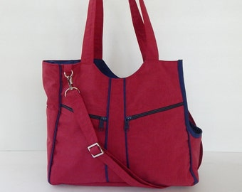 Dog carrier, Red/Navy Blue, Water resistant nylon, women, shoulder bag, tote, dog carrier, cat carrier - LOLY