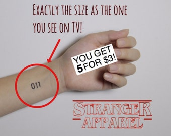 011 Temporary Tattoo (STRANGER THINGS) - Small Sheet of 5 Cut Out Tattoos