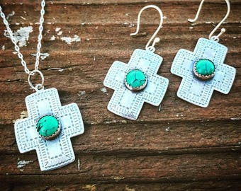 Sterling and Turquoise Southwestern Aztec Cross Set
