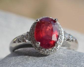 Ruby Ring. July Birthstone Ring. Ruby Gemstone and Sterling silver 925. Silver ring with Natural Ruby.
