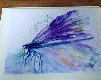 all occasion cards, abstract dragonfly, Blank Greeting cards, Unique cards, Blank Cards, original Watercolor, abstract watercolor, 4x6, love