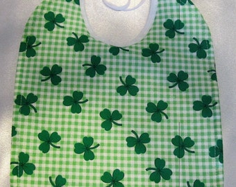 Gingham Shamrock Baby Bib- absorbent quilted backing