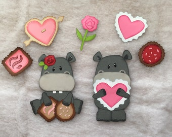"Premade Paper Pieced Die Cut ""Sweet Hippo"" 7 piece Embellishment Set"