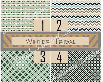 Winter Tribal 12x12,Pattern Vinyl Printed Vinyl- Adhesive Sticky Craft Vinyl- HTV Vinyl and Glitter Vinyl