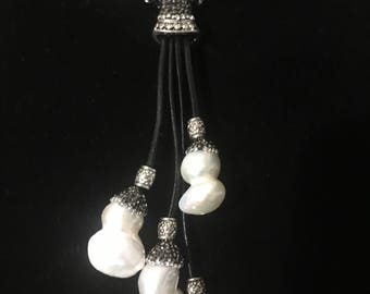 Leather Tassle Freshwater Baroque Pave Encrosted Necklace