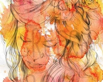 FAFDET- watercolor portrait print