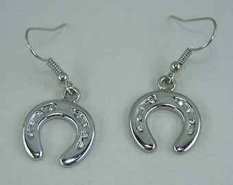E030, Horseshoe with Crystals Charm Earrings