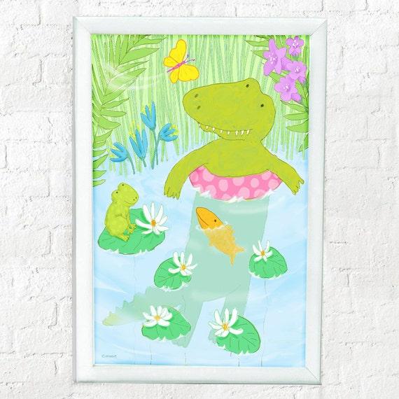 Alligator print for kid's room, nursery decor, baby gift, children's decor, kid's room art, kid's wall art, alligator art, kids wall decor,