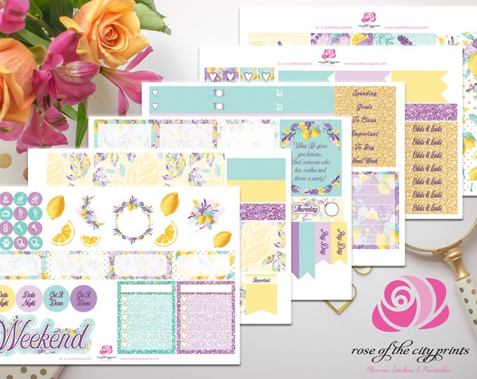 Featured listing image: Lavender and Lemons Weekly Sticker Kit