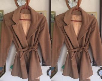 Short wool belted coat