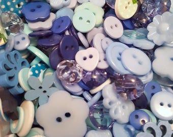 50g Button mix, Buttons, Craft buttons, Sewing buttons, Assorted buttons, Mixed buttons, Bulk buttons, Scrapbooking buttons, Blue, Blue mix
