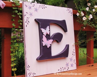 Monogram Wall Decor, Monogram Wall Letter, Nursery Wall Letter, Floral Design, Butterflies, Purple, Lavender, Pink