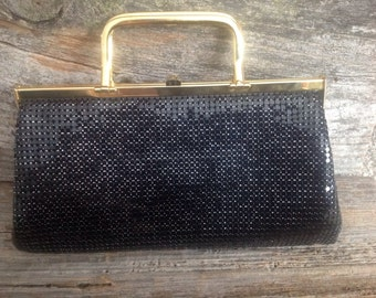 Retro-Vintage  Black Metal Mesh Handbag with Gold Accents - party/bridal/prom/retro/top handle/special occasion