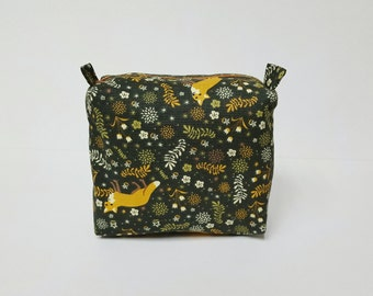 FOX khaki pouch, travel pouch, square pouch,makeup bag