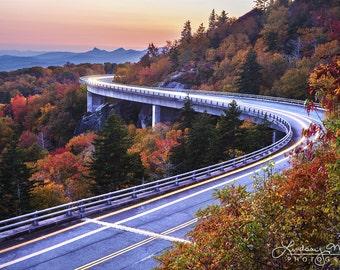 "Blue Ridge Parkway Photo | ""Linn Cove Viaduct Light Trails"" | North Carolina Wall Art - Blue Ridge Photo - Linn Cove Viaduct Photo - Autumn"
