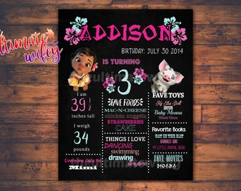 Printable Baby Moana Chalkboard CUSTOMIZED Birthday Sign