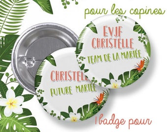10 round bachelorette party badges large metal - 44mm - customizable - model tropical, tropical, Palm - Bachelor bachelorette party