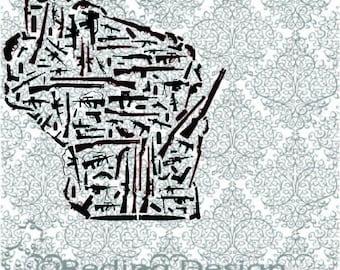 Guns in the Shape of Wisconsin SVG Digital Cut Files