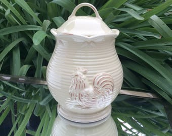Bucolic buttercream yellow Lenox - Provencal Garden canister with rooster