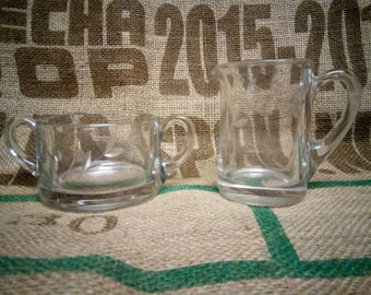 Cut Glass Sugar and Creamer Set
