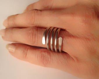 4 spiral turns ring aluminium, ring boho, anallergic, silver