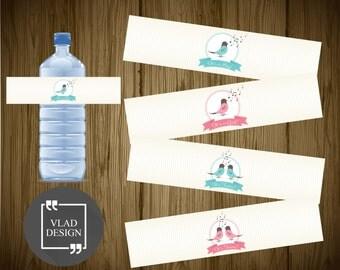"4 Sweet Design Baby Shower Ready to print Water Bottle Labels Baby shower Party Water Bottle Labels Birds design PDF 8.5""x11"""