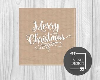 10''x 10'' Digital Vintage Craft Christmas card Merry Christmas card Vintage DIY Printable cards New year card Greetings card Winter card