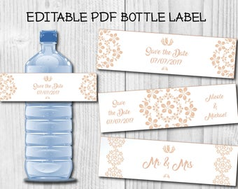 Save the Date Editable Water Bottle Label Wedding Water Bottle Label Editable PDF Bottle Label Custom Wedding Water Label