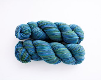 Fingering Sock Yarn Soft Merino Wool for Knitting  Yarn Blue Green Variegated Araucania Botany Lace 1793