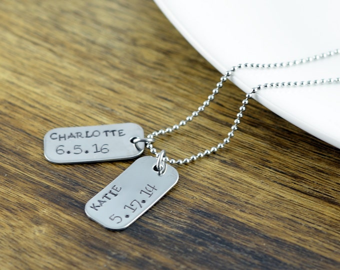 Personalized Mens Necklace, Dog Tag Necklace, Mens Jewelry, Mens Gift, Hand Stamped Necklace, Gift for Him, Gift for Dad, Christmas Gift