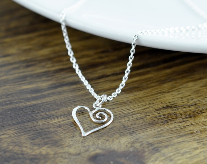 Charm Necklace - Pendant Necklace - Sterling Silver Heart Necklace - Open Heart Necklace - Heart Charm - Heart Jewelry