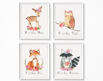 Floral Woodland Nursery Art, Woodland Nursery Prints for Girls, Baby Girl Woodland Nursery Art Print Set of 4 8x10 Prints.
