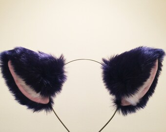 Cat ears Kitty Headwear Dark Navy Blue Furry White Fur Inside Animal Headband Costume Bow Bells