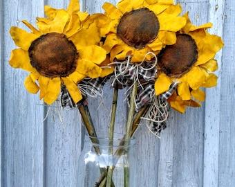 Primitive Sunflower - Primitive Flower - Fabric Sunflower - Handmade Sunflower - Handmade Flower - Primitive Decor - Rustic Decor - Flowers