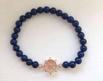 Bracelet dark blue with Rosé gold pendant