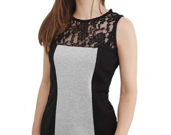Ladies Lace tank top, Fashion womens blouse, Comfy daily girls blouse, Shouderless gray womens top, Black summer maxi clothing
