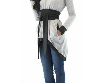 Gray tunic dress, Long sleeve tunic, Elegant woman top, Sexy gray tunic, Plus size clothing, Hot woman tunic, Maxi woman tunic