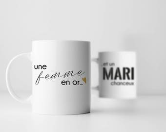 "Duo Cup ""Husband and wife"", a woman in gold and lucky husband, Gold Diamond, wedding gift, newlyweds, coffee cup, couple, kit"