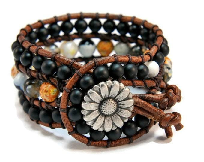 Jeronimo *  3 strand Wrap Bracelet. Boho Style. Bohemian Jewelry. Semiprecious stones. Gift for her. Cuff Bracelet.