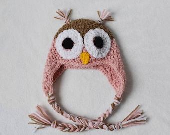 Crochet Owl Baby Hat | Crochet Baby Hat | Owl Baby Hat | Baby Earflap Hat | Pink Baby Hat | Pink Owl Baby Hat