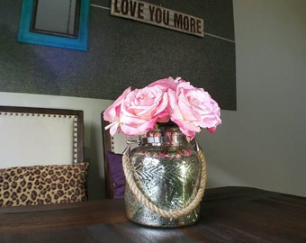 Stunning Pink Rose Faux Floral Arrangement in Antique Mercury Inspired Vase with Rustic Rope