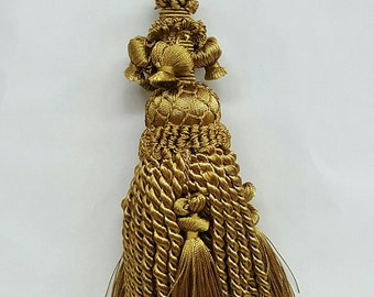 Decorative 8 inch Old Gold Key Tassel or Armoire Tassel