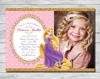Rapunzel Invitation, Princess Rapunzel Invite, Rapunzel Birthday Invitation, Rapunzel Birthday Party, Rapunzel Thank You|MFR_41