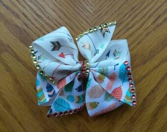 Arrows and feathers hair bow, native hair bow, rhinestone bow, native hair tie, little girls hair tie, fall hair bow,  harvest hair bow