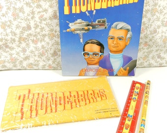 Thunderbirds Stationery Set, Excerise Book, School Pencil Case, 1991