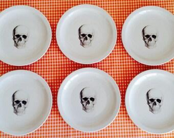 Set of 6 dessert plates Skull