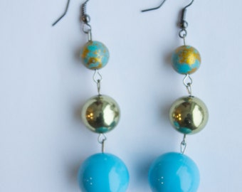 Blue and Gold bead dangle earrings